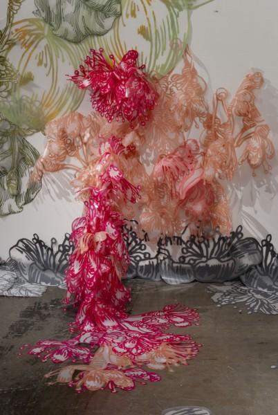 Installation View, Their Wondrous Transformation and Peculiar Nourishment, Silkscreen, ink jet prints, video, 2011