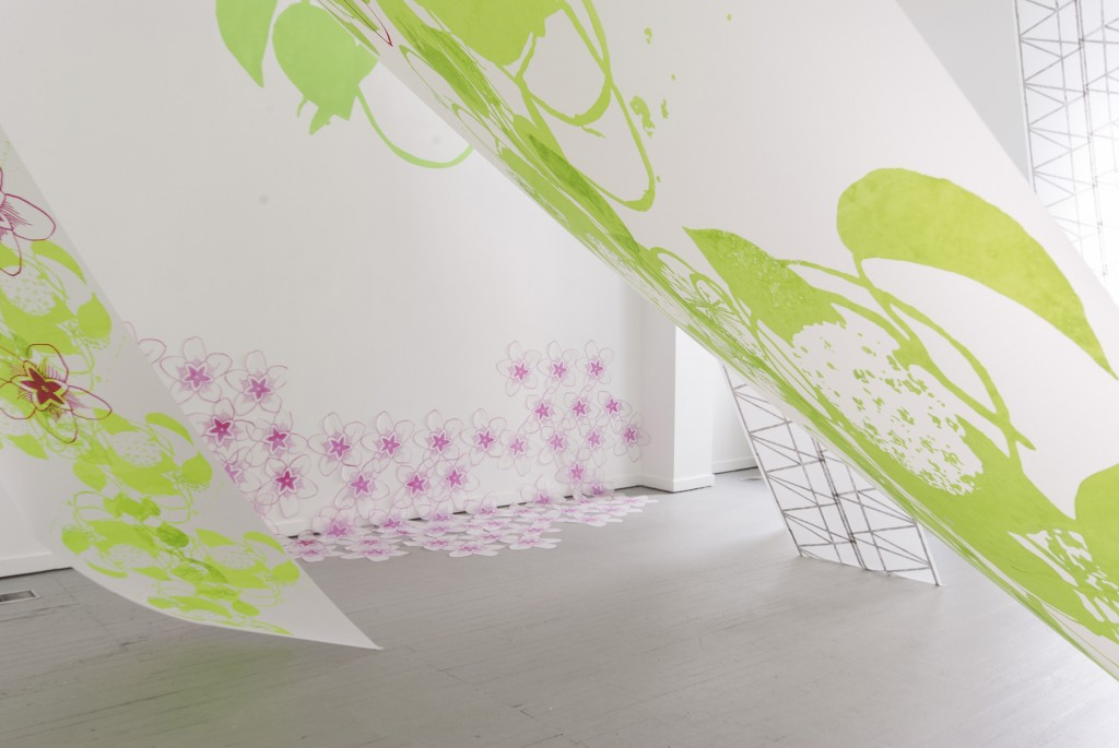 Canopy and Bloom, Silkscreen on polyester film, glitter, microbeads, 2013