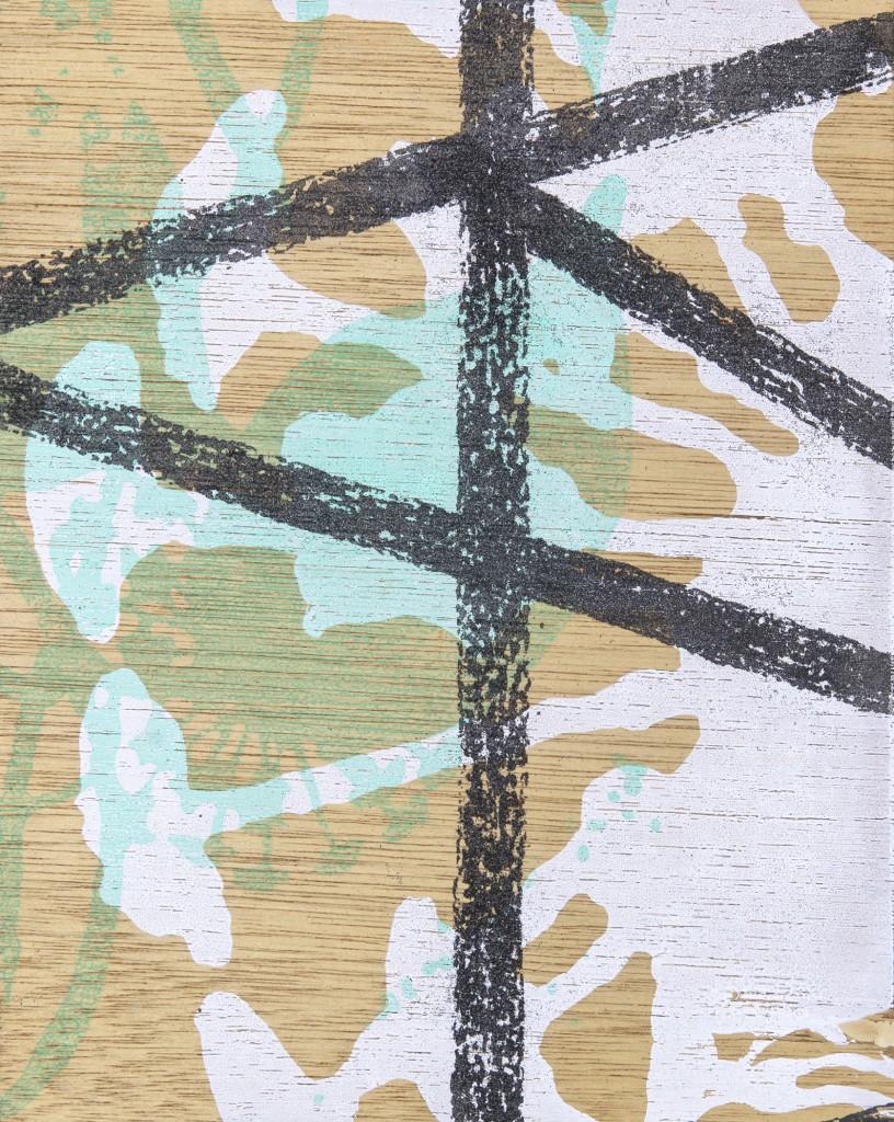 "Tussie Mussie, Silkscreen, glow in the dark ink, glitter on wood panel, 12""x9"", 2013"