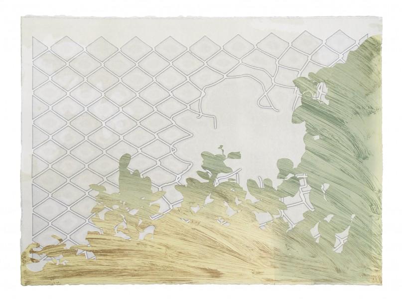 """""""Barricade,"""" monoprint from plotter cut stencils, 22""""x30"""", 2017"""