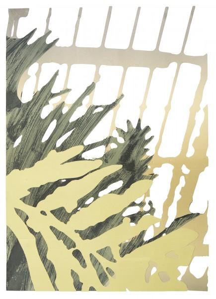"""""""Enclosure,"""" monoprint and plotter cut paper, 24""""x18"""", 2017"""