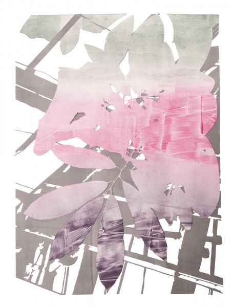 """Fantasy,"" monoprint, plotter cut paper, 24""x18"", 2017"