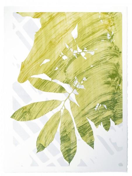 """""""Figment,"""" monoprint from plotter cut stencils, 30""""x22"""", 2017"""