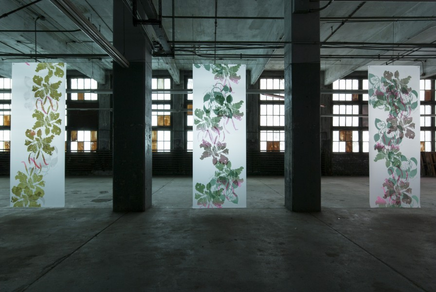 "SupraEcology, Silkscreen on polyester film 96""(H) x 36""(W) (each banner) 2014"