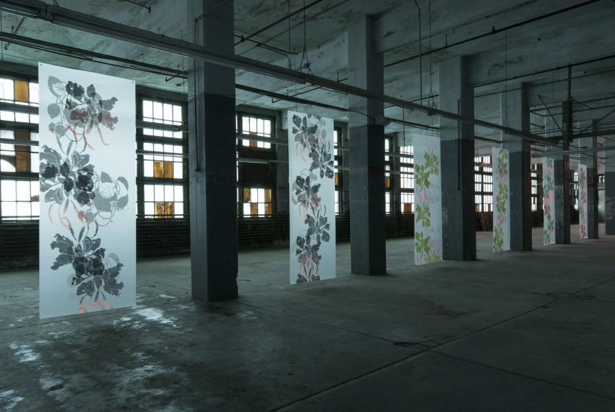 "SupraEcology, Silkscreen on polyester film 96""(H) x 36""(W) (each banner) 2014"