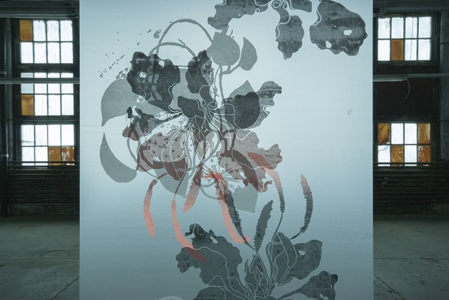 "SupraEcology, detail Silkscreen on polyester film 96""(H) x 36""(W) (each banner) 2014"