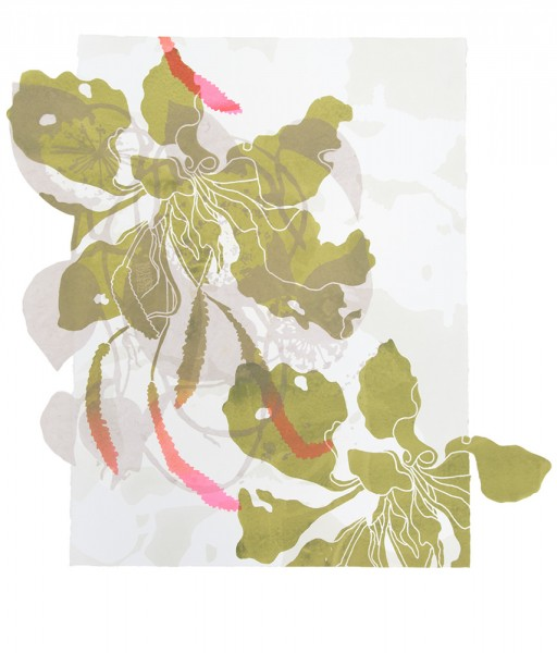 "SupraEcology III Silkscreen and monotype on paper and cut polyester film  30""(H) x 30""(W) 2014"
