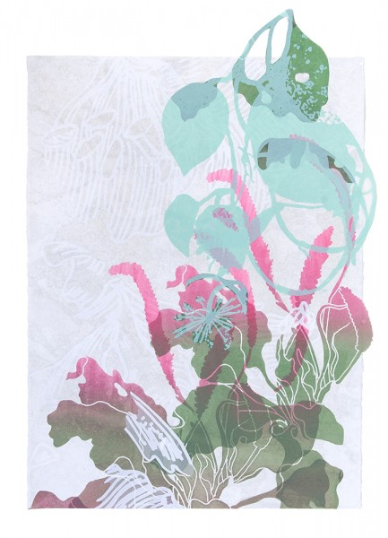 "SupraEcology V Silkscreen and monotype on paper and cut polyester film 33""(H) x 23""(W) 2014"