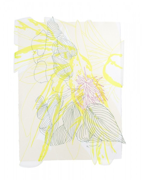 "Future Flower V Silkscreen on paper and cut polyester film 33""(H) x 24.5""(W) 2014"
