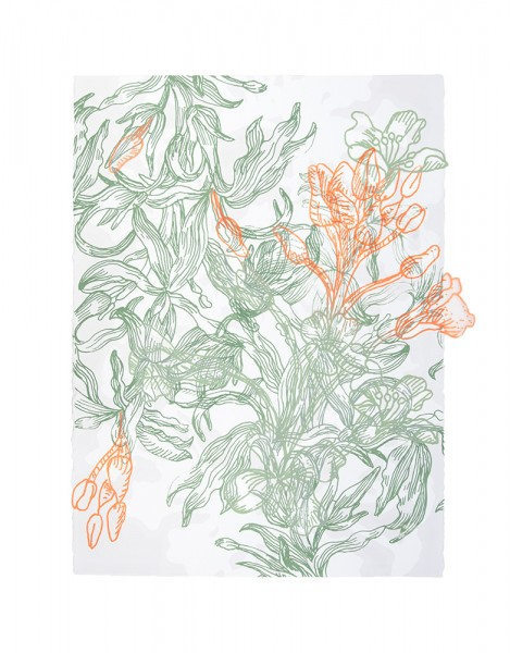 "Future Flower III Silkscreen and monotype on paper and cut polyester film 30""(H) x 25""(W) 2014"