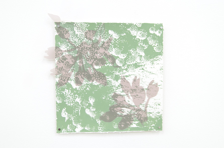 """Scion, Silkscreen on paper and cut polyester film, approximately 13""""x13"""", 2015"""