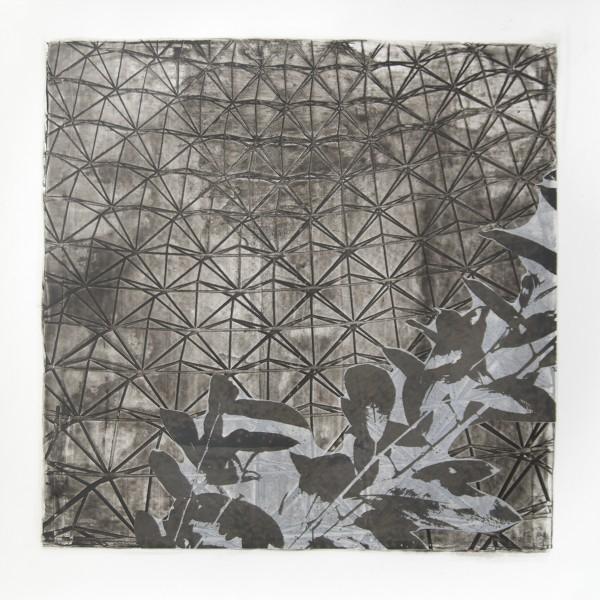 "Biosphere I, Relief Silkscreen, wax, pigment, polyester film, 22""x22"", 2016"