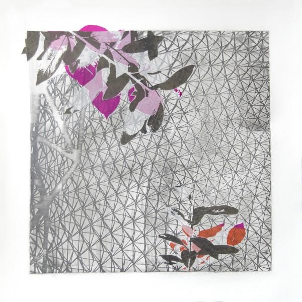 """Biosphere III, Relief Silkscreen, wax, pigment, polyester film, 22""""x22"""", 2016"""