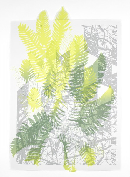 """Fractured Terrain I,"" Silkscreen, inkjet on paper and cut polyester film, 33.5""x22.5"", 2016"