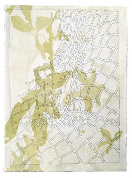 """""""Limit,"""" monoprint from plotter cut stencils, 30""""x22"""", 2017"""