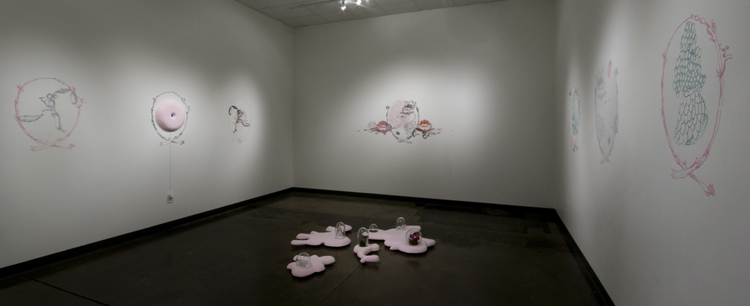 Installation View, The Happier Side of a Vast World, Silkscreen, video, mixed media, 2010